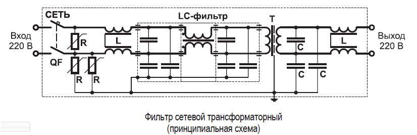 Схема сетевого фильтра с трансформатором